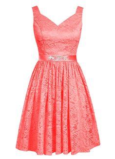 Dresstells, robe courte de demoiselle d'honneur en dentelle col en V: Amazon.fr: Vêtements et accessoires