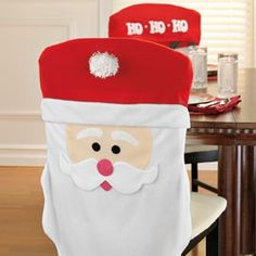Santa Chair Cover ~set of 4 Winter Wonderland Christmas, Christmas Tea, Christmas Sewing, All Things Christmas, Christmas Holidays, Christmas Projects, Christmas Crafts, Christmas Decorations, Yule
