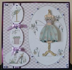 Entered in We Love Katy Sue Designs Facebook Group August Challenge August Challenge, Tattered Lace Cards, Craftwork Cards, Dress Card, Birthday Cards For Women, Paper Crafts, Diy Crafts, Decoupage Paper, Pop Up Cards