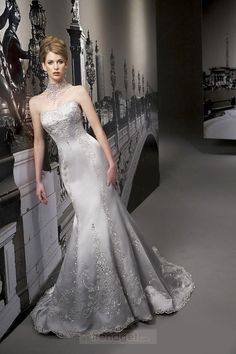 Luxury A-line Strapless Floor-length Satin Colored Wedding Dresses - Trendget.com