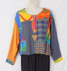 Faith Brand Blouse S size Mixed Fabric Art Wear Top Loose Boho Hippy Festival #FaithBrand #Tunic #Casual