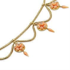 Yellow gold and coral swag necklace, ca. 1860. | In the Swan's Shadow