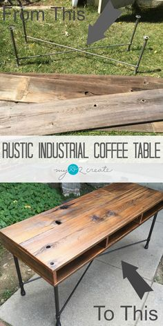 Using Reclaimed fence wood and an old metal table base you can create your own Rustic Industrial Coffee table with this easy to follow DIY tutorial!