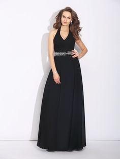 A-Line/Princess Halter Beading Sleeveless Long Chiffon Bridesmaid Dresses