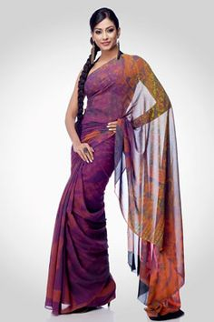 A digital printed ornamental saree, comes with an unstitched crepe-de-chine blouse.