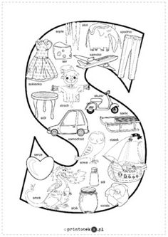 Kolorowanka S - Printoteka.pl Polish Alphabet, Learn Polish, Literacy And Numeracy, Alphabet Coloring Pages, Toddler Activities, Kindergartens, Language, Letters, Teaching