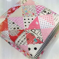 red pepper quilts {I like the b&w binding on scrappy quilt w/ b&w fabrics}