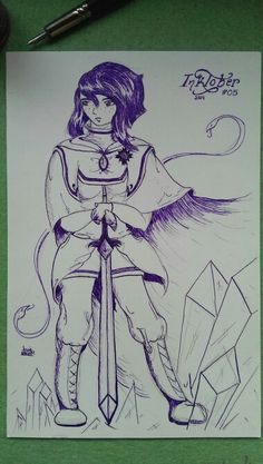Day 5: Sketch of my OC Nímare with her original design, for #INKtober 2014.