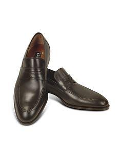 Dark Brown Calf Leather Penny Loafer Shoes #DesignerHandbags #DesignerShoes