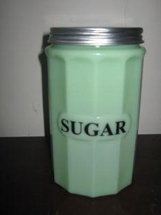 Jade Glass Sugar Canister