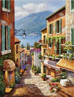 Global Gallery 'Village Steps' by Sung Kim Painting Print on Wrapped Canvas Size: Landscape Art, Landscape Paintings, Belle Image Nature, Anime Scenery, Stretched Canvas Prints, Beautiful Paintings, Painting Inspiration, Beautiful Places, Fine Art