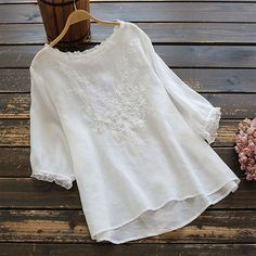 Floral Women Shirts Embroidery Blouse Long Sleeve Floral Tunic   Etsy Casual Tops For Women, Blouses For Women, T Shirts For Women, Half Sleeves, Types Of Sleeves, Puffed Sleeves, Shirt Embroidery, Vintage Embroidery, Embroidery Fabric