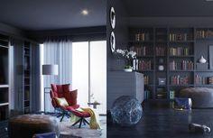 coin lecture au design moderne avec fauteuil relax et repose pied, pouf en cuir…