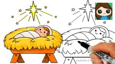 star bethlehem jesus drawing manger nativity draw easy scene drawings simple christmas cartoon doodles