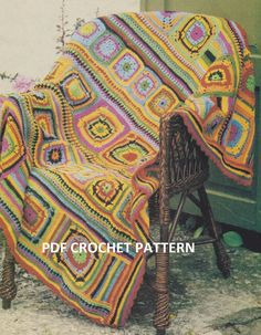This item is a digital pattern, not the actual item for sale. Pattern is written in standard American terms.  Please note: All sales on patterns are final. No refunds.  Welcome back to the 1970s! Revisit these years with a pattern from that era. Old is new again.  This is a lovely afghan. A very pretty accessory to any room! Pattern written in standard American terms. This pattern is for the experienced crocheter.  See Photograph for sizing and materials information.  You must have adobe…