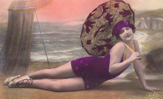 Flapper on the Beach PolkaDot PinUp 3 circa 1920s