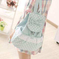 Fresh Sweet Bow Contrast Color Lovely Polka Dot Backpack