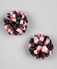 Another great find on #zulily! Pink & Black Saddle Puff Clip Set by Sweet Indigo #zulilyfinds