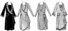 "#2757: Dress-A Surplice Closing One-Piece Frock Circa 1925-26: 37"" Bust, 39-1/2"" Hip. Length of skirt in front from regular waistline 31"". Width around lower edge about 1-3/4 yards.    This pattern was published by The New McCall Pattern company in New York City. An basic illustrated fabric layout and construction guide is included. The garment is easily assembled by matching notches and numbers. The pattern contains eleven pieces.    A similar frock in the 1926 Butterick pattern catalog is…"
