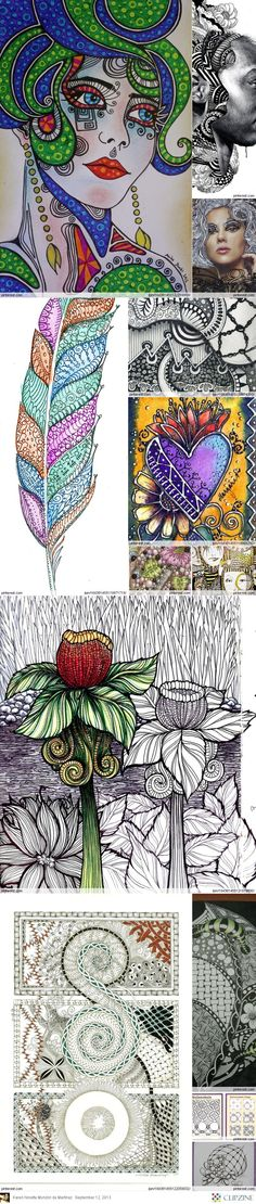 zentangle and doodle by Jameyyy Zentangle Drawings, Doodles Zentangles, Zentangle Patterns, Doodle Drawings, Art Doodle, Tangle Doodle, Tangle Art, Vintage Magazine, Doodle Coloring
