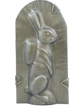 Rabbit Carrying Basket Mold Antiqued Metal Decorative Only Sugar Mold, Butter Molds, Metal Embossing, Vintage Candy, Candy Molds, Happy Spring, Chocolate Molds, Antique Metal, Cake Mold
