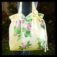 Vintage 1960s barkcloth tote bag  Lovely Spring by jellyjamellie,