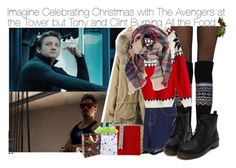 """""""Imagine Celebrating Christmas with The Avengers at the Tower but Tony and Clint Burning All the Food"""" by fandomimagineshere ❤ liked on Polyvore featuring Fogal and Meri Meri"""