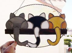 Stained Glass Suncatcher 3 Kittens Looking by StainedGlassbyWalter