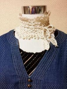 画像2: 手編みの付け襟/ティペット (2)