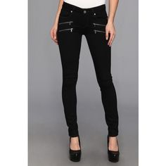 Paige Edgemont Ultra Skinny in Kensington Women's Jeans, Blue ($110) ❤ liked on Polyvore featuring jeans, blue, stretchy jeans, patched jeans, stretchy skinny jeans, stretch jeans and zipper skinny jeans