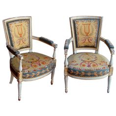 Pair of Louis XVI Fauteuils | From a unique collection of antique and modern armchairs at http://www.1stdibs.com/furniture/seating/armchairs/