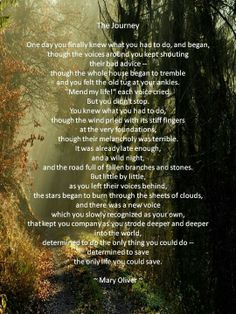 The Journey by Mary Oliver  Favorite poem of all time