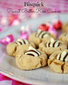 Bisquick Peanut Butter Kiss Cookies - our new favorite Peanut Butter Cookie! Only 4 ingredients in the cookies!