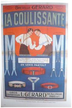 Vintage French fashion color advertisement poster - 1920s - braces, child art deco.