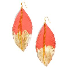 Feather Earrings Coral. Love it against the half GOLD.