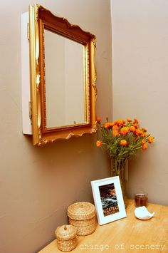 """change of scenery: mirror turned thermostat cover.""""Made me think of having a Cabinet w """"on~the~Go"""" check items @ the Door. ;D"""
