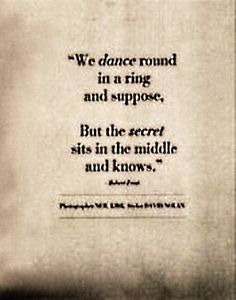 """""""We dance around in a ring and suppose but the secret sits in the middle and knows'' - Robert Frost. Beautifully demonstrating the complexity a poem can have, regardless of it's length."""