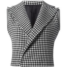 Yohji Yamamoto Vintage Sleeveless Houndstooth Jacket ($708) ❤ liked on Polyvore featuring outerwear, jackets, coats & jackets, vest, blazers, black, vintage jackets, yohji yamamoto jacket, houndstooth jackets and yohji yamamoto