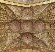 ceramic tiled ceiling of a vault at the masdjed-e Nasr Al Molk at Shiraz Persian Architecture, Art And Architecture, Mosque Architecture, Dome Ceiling, Ceiling Art, Iran Pictures, Shiraz Iran, Religion, Persian Culture
