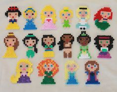 Disney Princesses made from Perler Beads by tiffanysobears on Etsy