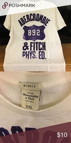 Abercrombie Men's XXL Muscle Tee Abercrombie White and Purple Men's Muscle Tee - Great Condition Abercrombie & Fitch Shirts Tees - Short Sleeve