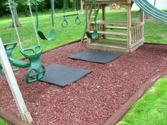 Rubber mulch and playground mats with rubber bendable curbs