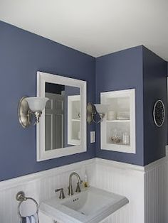 recessed alcove in wall between studs: more storage!