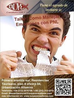 @IxoyeConsultore #PNL  TALLER COMO MANEJAR EMOCIONES CON PNL   * 6 de octubre del 2016 * Altamira Sur, Caracas  IXOYE CONSULTORES 1108, C.A.   * e-mail: Mastergerencial@isoyeconsultores.com   * + 58 (212) 267.5708 / (0414) 284.3628 * http://www.ixoyeconsultores.com * Twitter: @IxoyeConsultore #emociones #caracas #coaching