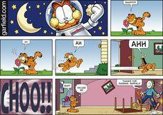 Garfield comic strip for Garfield And Odie, Garfield Comics, Garfield Quotes, Funny Cartoons, Funny Comics, Fat Cats Funny, Hagar The Horrible, Jim Davis, Pokemon