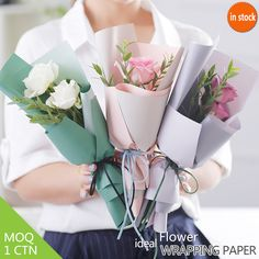 60*60CM Flower Mini bouquet wrapper Korean style 2 colors two sides paper