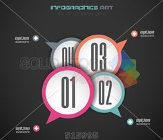 stock illustration of horizontal grey infographics background with four overlapping circles with arrows
