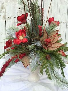 Items similar to Christmas Centerpiece, Red Magnolia Table Centerpiece, Christmas Vase Centerpiece, Tall Table Centerpiece for Christmas Table on Etsy Christmas Vases, Christmas China, Christmas Table Centerpieces, Shabby Chic Christmas, Vase Centerpieces, Christmas Wreaths, Natal Diy, Magnolia Table, Tall Table