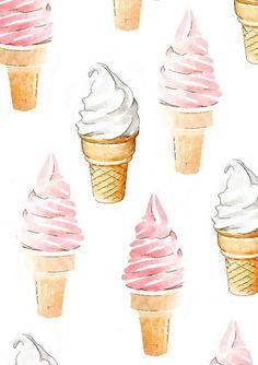 Servicio suave helado cono impresión de acuarela por LAscandal
