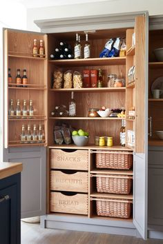 Luxury Kitchen Raynham kitchen larder or pantry from Naked Kitchens - Be inspired to install order in your home with these great ideas for kitchen storage Kitchen Larder Cupboard, Kitchen Pantry Design, Kitchen Organization Pantry, Kitchen Styling, Kitchen Storage, Pantry Door Storage, Built In Pantry, Pantry Ideas, Farmhouse Kitchen Decor